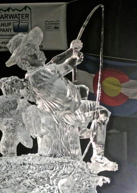 This boy seems to have hooked into a whopper! It is my last photo for the 2016 World Ice Art Championships in Fairbanks.