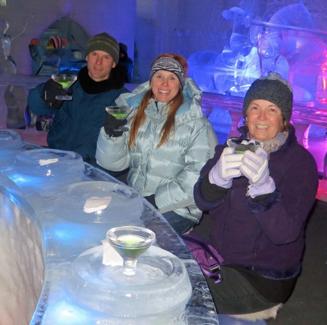 Here we are toasting out of carved ice glasses at a bar made out of ice, while sitting on ice chairs. We had hoped to be toasting Tony's appointment as a commander at the US Naval Academy in Connecticut. He did receive the appointment, but not until after we had returned to Oregon.