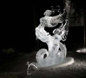 """""""Don't leave me now"""" ice sculpture at the 2016 World Ice Art Championships in Fairbanks, Alaska"""