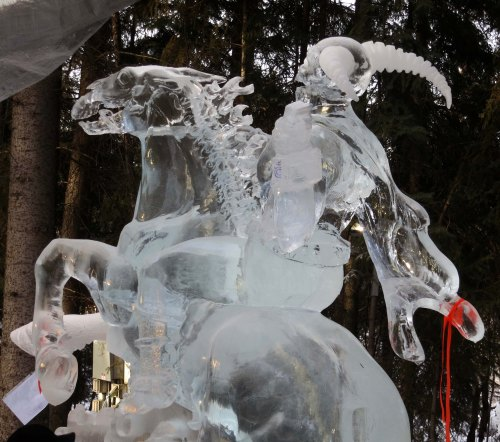 "Day time view of ice sculpture ""Soul Catcher"" at the 2016 World Ice Art Championships in Fairbanks, Alaska"