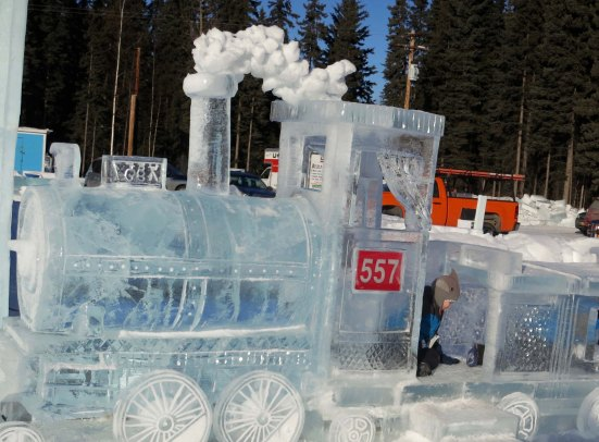 Ice steam engine at the Kid's Ice Park in Fairbanks, Alaska 2016.