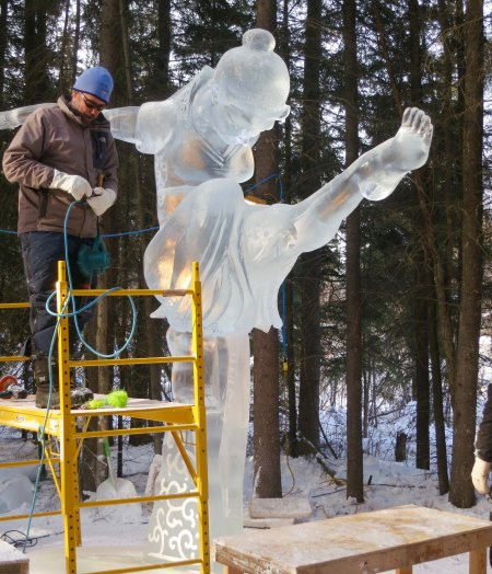 The sculpture, Concentration, at the 2016 Word Ice Art Championships in Fairbanks.