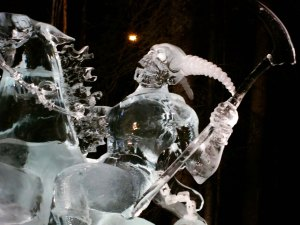 "Close up of ice sculpture ""Soul Collector"" at the 2016 International Ice Art Competition."