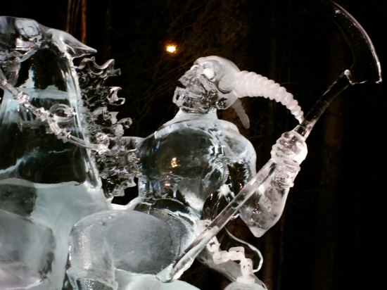 "Close up of ice sculpture ""Soul Collector"" at the 2016 World Ice Art Championships."