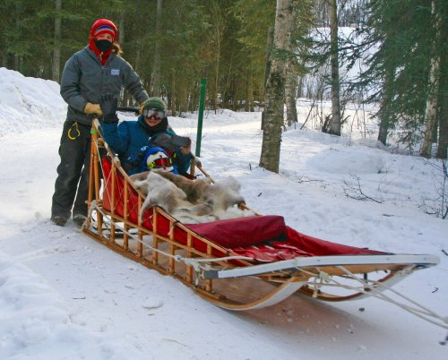 While more traditional sleds are built to haul loads, or, in this case, our Daughter-in-law Cammie and Grandson Chris at Chena Hot Soprings.