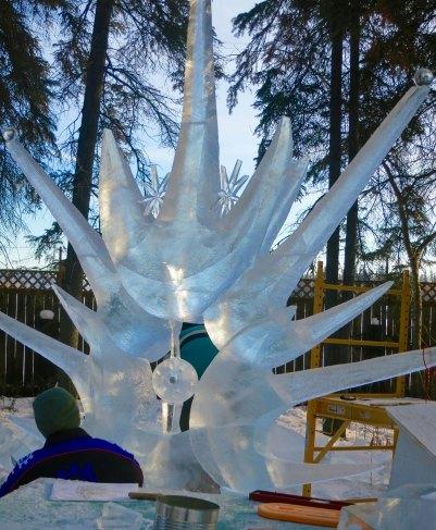 """Son of Sun"" ice carving sculpture at 2016 World Ice Art Championships in Fairbanks, Alaska"