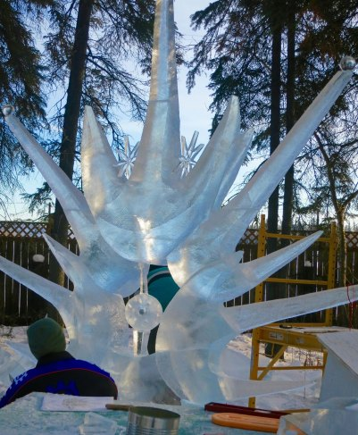 """Son of Sun"" ice carving sculpture at 2016 World Ice Art Championships in Fairbanks, Alaska"