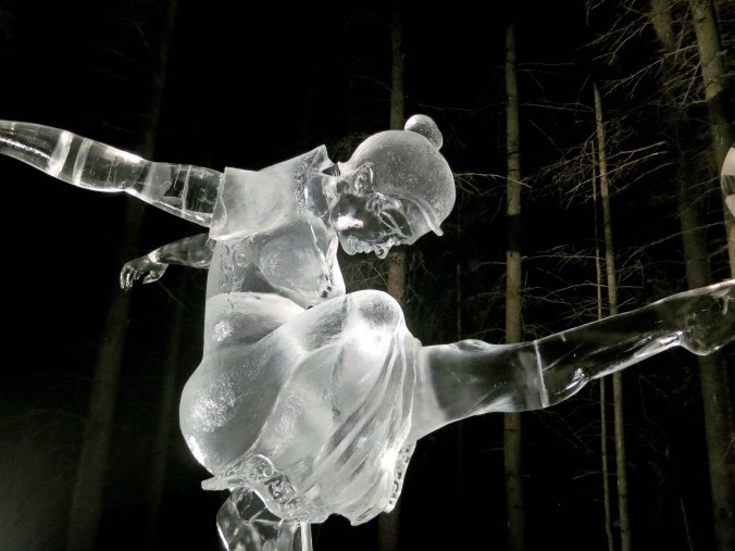 """A close up of the sculpture """"Concentration"""" at the 2016 Word Ice Art Championships in Fairbanks."""
