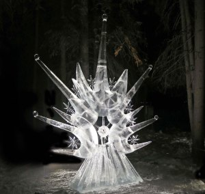 """""""Son of a Sun"""" ice carving sculpture at 2016 World Ice Art Championships."""
