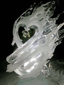 The Spark ice art sculpture at the 2016 International Ice Art Competition at Fairbanks, Alaska