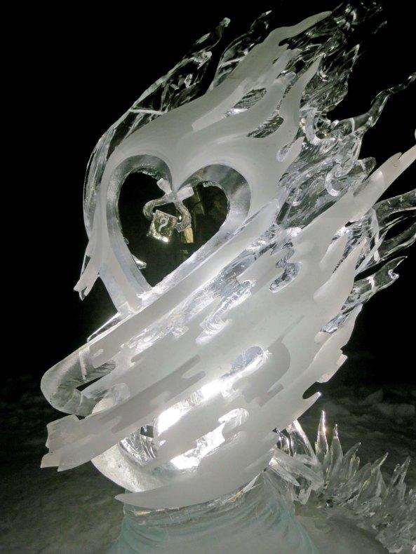 The Spark ice art sculpture at the 2016 World Ice Art Championships at Fairbanks, Alaska