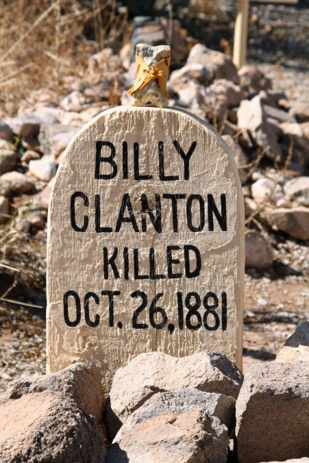 Bone checks out Billy Clanton's grave on Boothill— thankful it wasn't him.