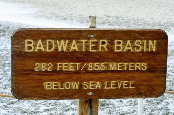 Here's Bone at the lowest point in North America in Bad Water Basin in Death Valley, 282 feet below sea level. (He was there on the bike trek and has since returned.)