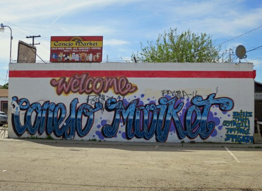 Congo Road featured this market as well as big dogs. The graffiti is a modern addition.