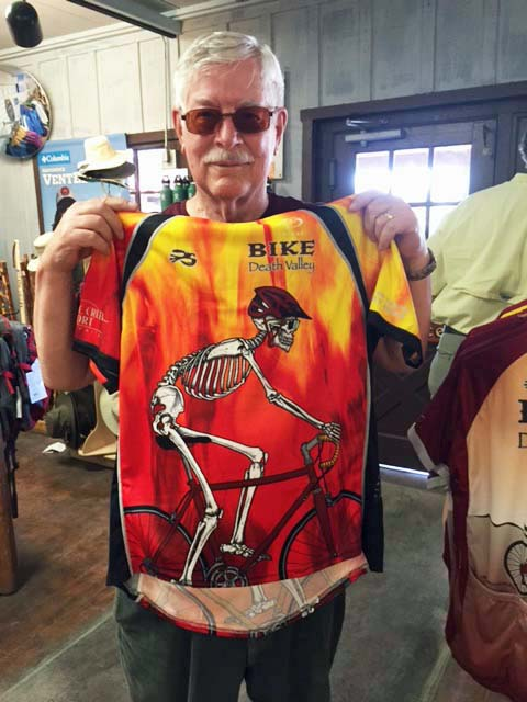 Serious bicyclists  wear bright clothes. They want to be seen. I bicycled through Death Valley on my trip. I found this jersey there a couple of weeks ago.