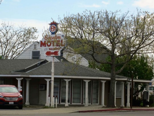 The Escalon Motel as It looks today. Peggy and I stopped for a photo. Several restaurants and a Starbucks are now located nearby and the motel looked like it had received a recent paint job.