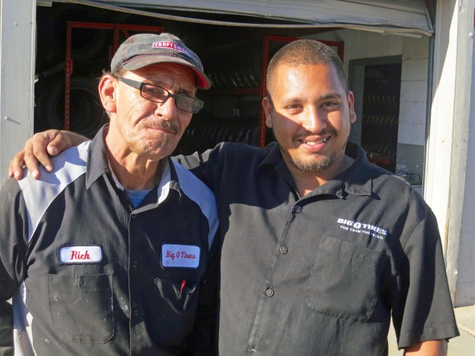 """The staff at Big O was great. Putting new shocks on Quivera was a massive challenge. She is not mechanic-friendly. The mechanic on the left worked diligently. The front desk man helped us maintain our sense of humor. """"Twenty more minutes"""" he told us several times."""
