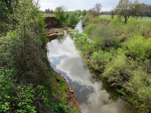 I could have stopped on the Mokelumne River near Clements that still had water, bit I cycled on the the Calaveras.