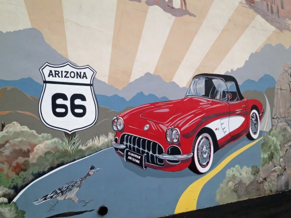 A number of murals depict a romanticized view of travel on the highway.