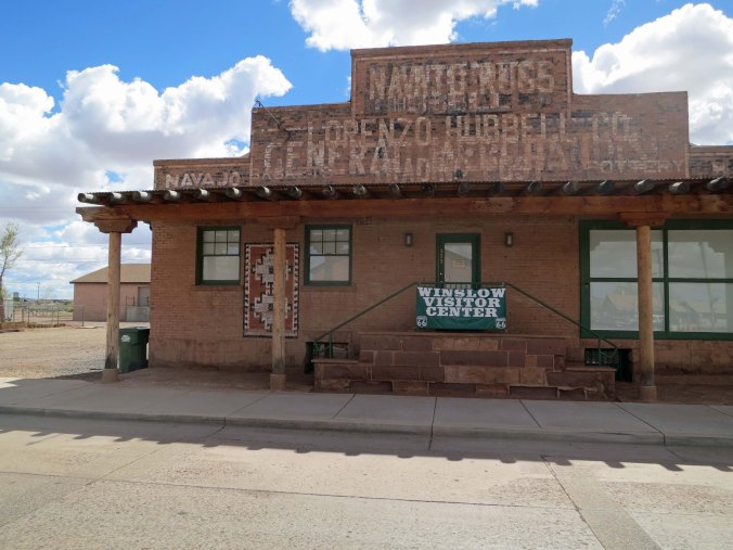 The Winslow visitor center. Once again, the connection with Route 66 is emphasized. This was once a store that sold Navajo blankets and jewelry. Many such stores were located along historic Route 66 in Arizona and New Mexico.