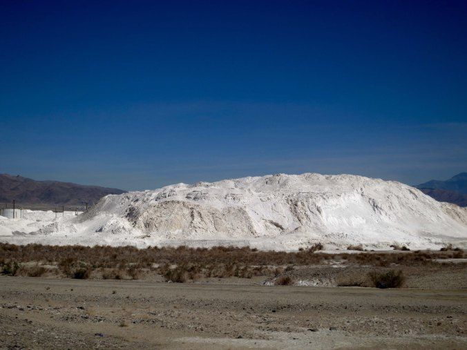 I am not sure what particular mineral this huge white mound in Trona consisted of, but I don't think it was baking soda.