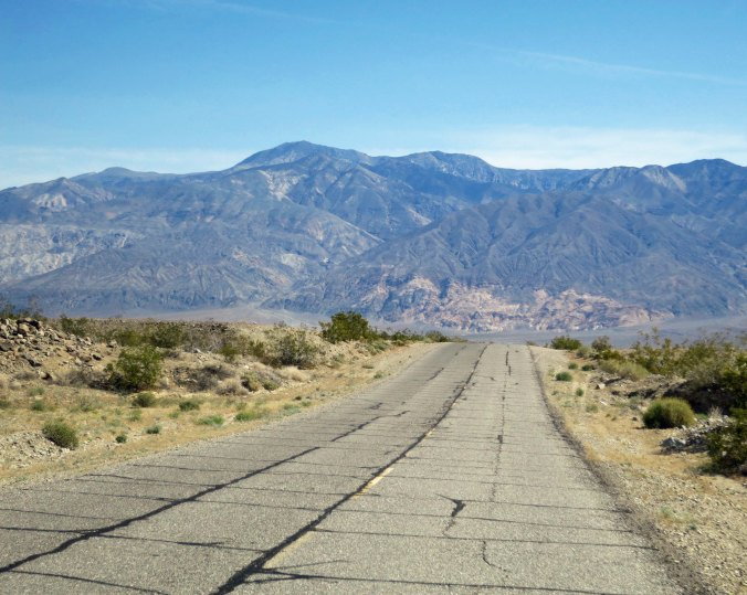A view of the road through the Panamint Valley.