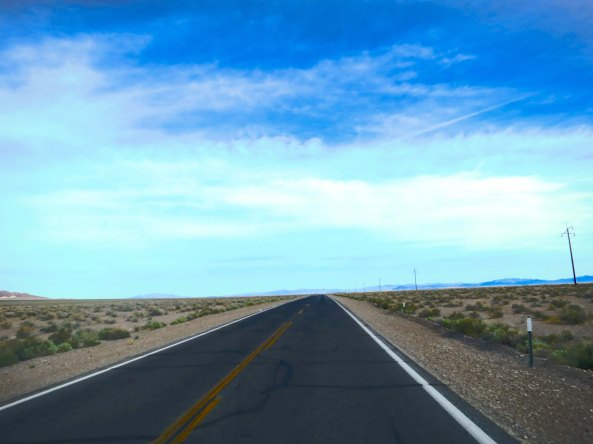 Highway 373 leading into Amargosa Valley was straight and flat. See any cattle or burros?