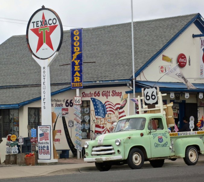 I don't think this store could have worked in more Route 66 signs. How many can you count?