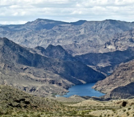 Looking down on the Colorado River from a viewpoint on the Las Vegas-Kingman road.