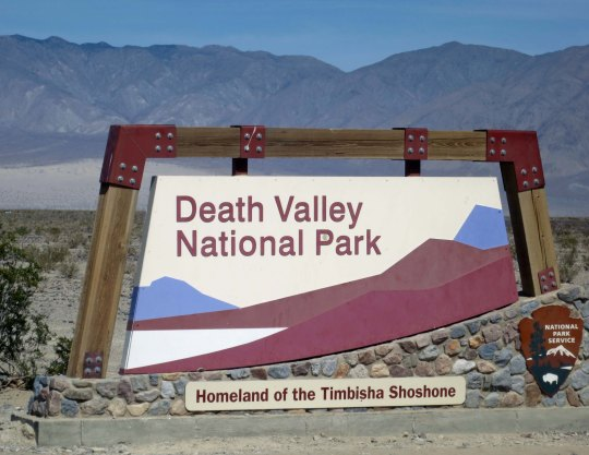 The sign that welcomes you to Death Valley today.