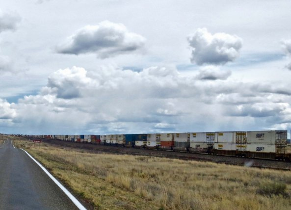 The railroad tracks came closer to the road just outside of Seligman. This happens to be one of the busiest freight lines in America. When I traveled through it was the Santa Fe Railroad of Aitchison, Topeka and Santa Fe fame. Now it is part of the Burlington North Santa Fe Railroad one by Warren Buffet.