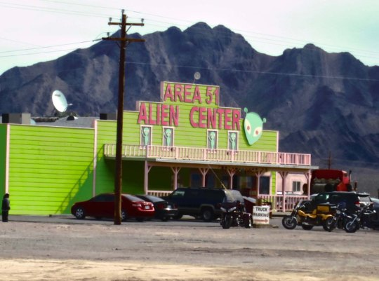 ETs and Area 51 have become tourist attractions. This establishment is in Amigos Valley on Nevada Highway 95.