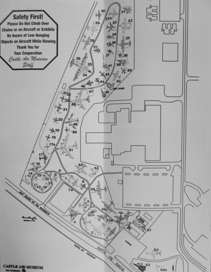 Map of Castle Air Museum from the visitors guide. I highly recommend that you visit this museum if you get a chance.