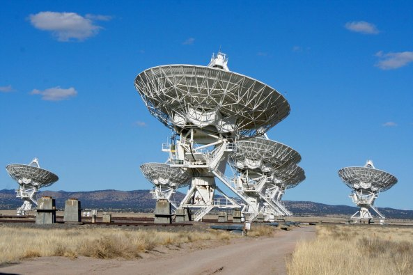 The radio telescopes of the Very Large Array are situated on the eastern edge of the Continental Divide, 60 miles east of Socorro, New Mexico.