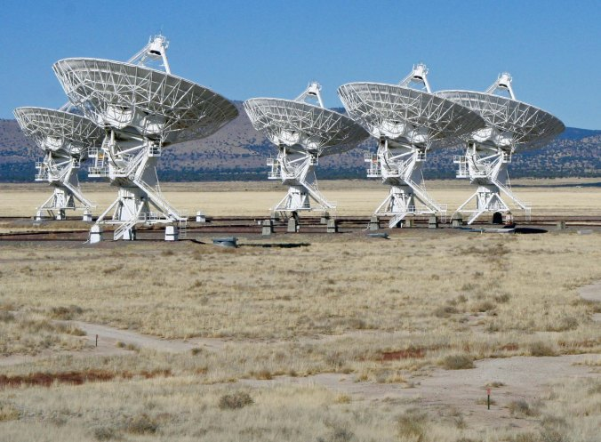 This photo shows the rails that the radio telescopes travel on. Once the telescope arrives at it preset positions it is bolted down and plugged in to the power and fiber optic cable system.