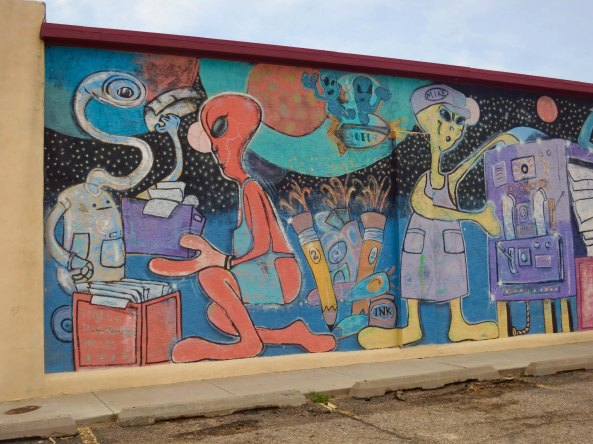 It isn't required, but Peggy and I found numerous businesses in Roswell with alien themes. This was a print shop.