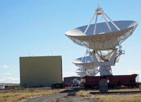 Radio Telescopes and repair facility at VLA in New Mexico