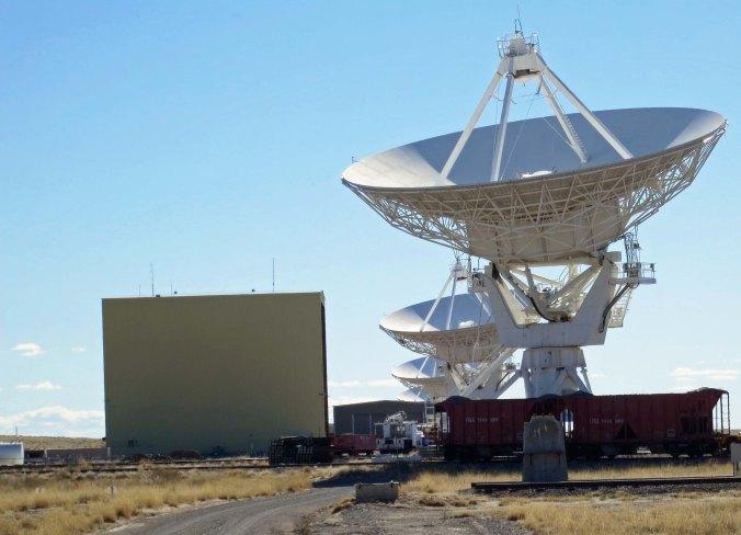 Radio Telescopes and repair facility at VLA in New Mexico