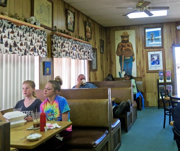 Smokey the Bear Restaurant is located next to the memorial site and is full to the brim with Smokey the Bear memorabilia.