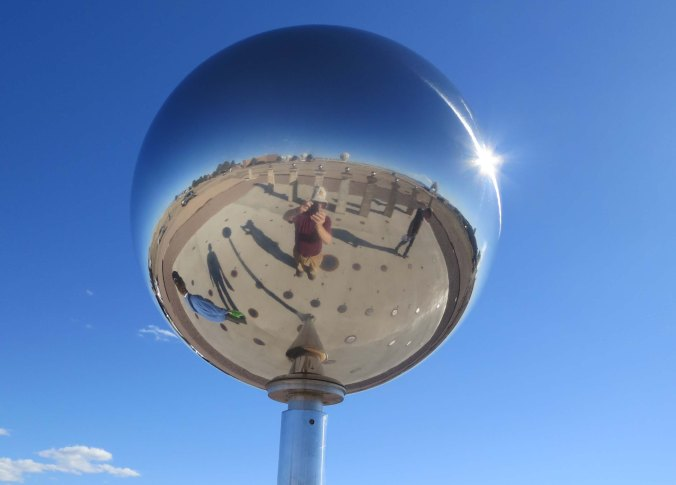 A close up of the sundial featuring both of us in the mirror. Sort of a selfie...