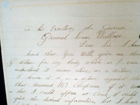 A letter of appeal that Billy wrote to Governor Lew Wallace who had been appointed to clean up the mess in Lincoln County and the corruption in New Mexico's government. What interested me was how neat, and how well written the letter was.
