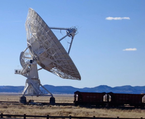 Each of the radio telescopes at the Very Large Array in New Mexico is massive, weighing