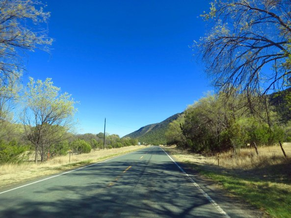 My road shot for the day. I really enjoyed the trees and green grass I found riding along the Rio Hondo River. This may look dry and barren to you. Believe me, it wasn't.
