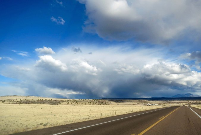 Storm clouds on the road into Springerville, Arizona.