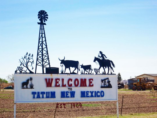 It wasn't surprising that the Welcome to Tatum sig would feature a cowboy, windmill and cattle, representative symbols of the Old West. But note the oil well on the lower right, a symbol of the new/old west that has been given a whole new life with fracking.