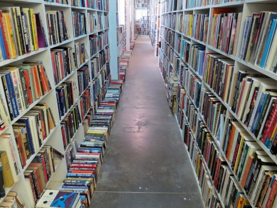 A small portion of the 150,000 books in Larry McMurtry's bookstore, Booked Up, in Archer City Texas.