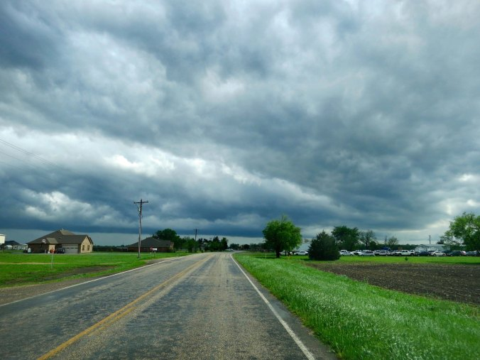 Stormy skies give credence to a tornado warning near Greenville, Texas.