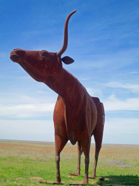 Peggy and I found this 22 foot high sculpture of a Texas Longhorn bull just a few miles west of Throckmorton.