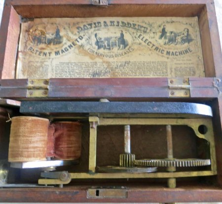 Shocking! It was believed that electrical shock was the best treatment for nervous disorders. This device provided the shock.