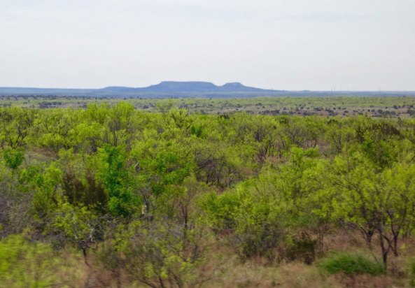A distant view of the Double Mountains of West Texas near Aspermont.